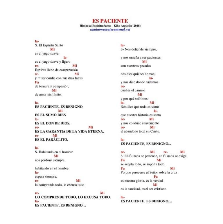 ES PACIENTE (canto nuevo 2018, acordes PDF y MP3)