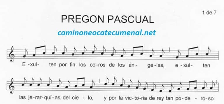Partitura del Pregón Pascual - Camino Neocatecumenal